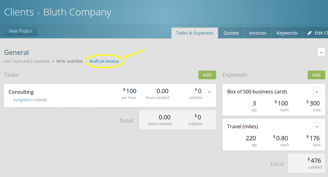Click the link to draft an invoice for a client to bill for their expenses