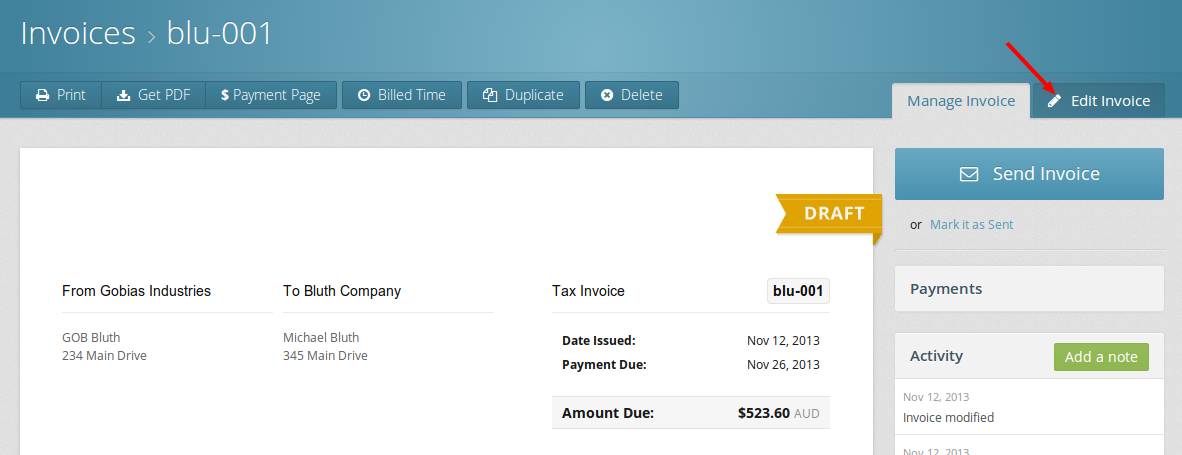 The link to edit an invoice