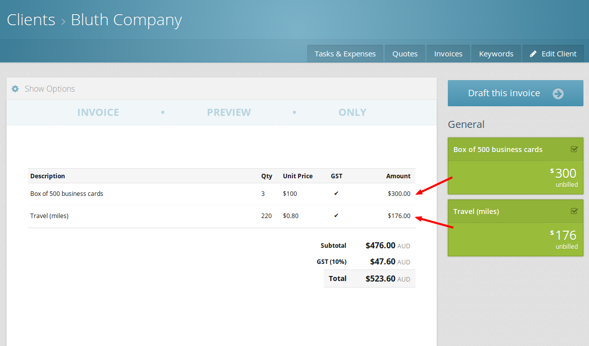 Select which expenses you want to include on the invoice.