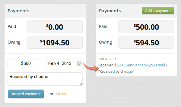 Adding a payment to an invoice with a date, amount, and description