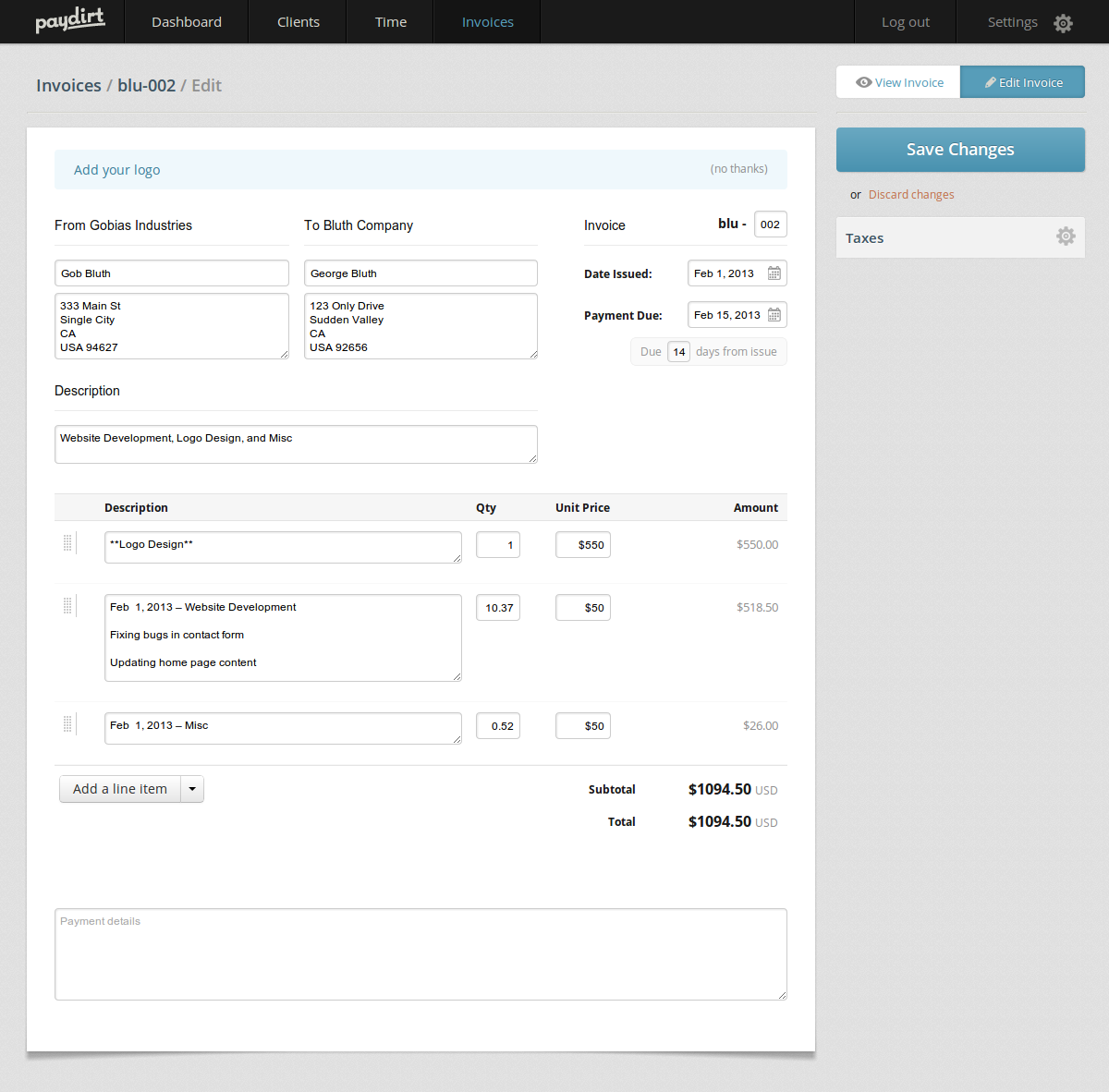 Editing an invoice visually