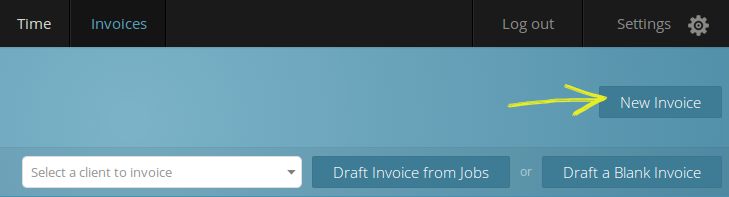 Create an invoice for a client from the dropdown menu