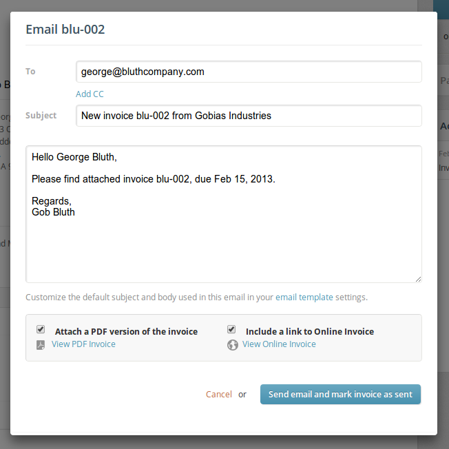 Invoice email sample for How to bill a client