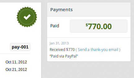 Invoice paid online via PayPal