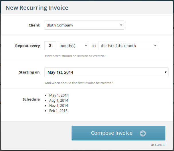 Parameters for the recurring invoice