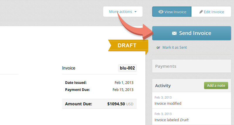 "Click ""Send Invoice"" to email and invoice to your client."