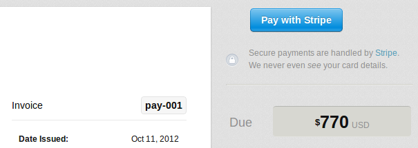 Pay With Stripe button on an invoice
