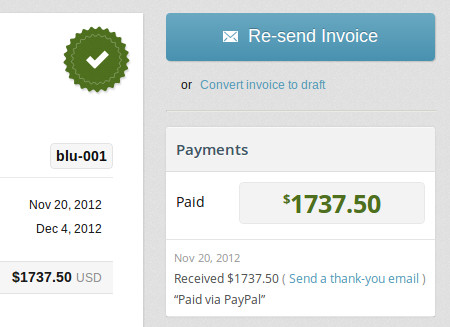 PayPal invoice payments are tracked automatically