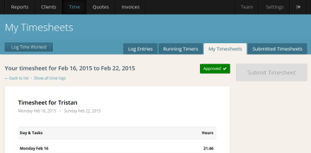 Timesheet approval allows your team to submit weekly timesheets