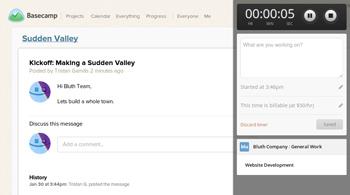 Tracking time anywhere on the web, like Basecamp.